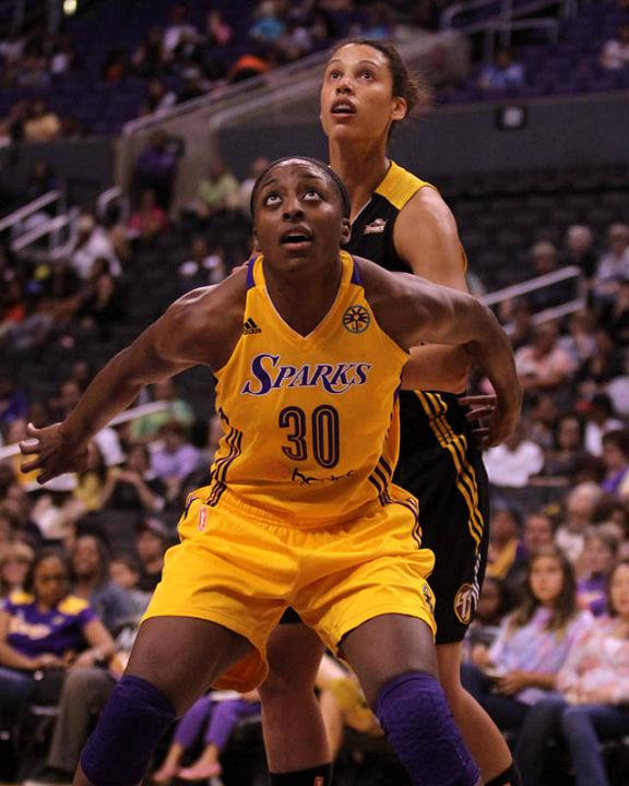 Sunday August 25, 2013; Nneka Ogwumike #30 of the Sparks during the game. The Los Angeles Sparks defeated the Tulsa Shock by the final score of 90-88 in 2 overtimes at Staples Staples Center in downtown Los Angeles CA.