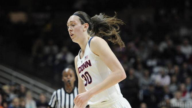 Connecticut's Breanna Stewart in the first half of an NCAA college basketball game against South Florida, Monday, Feb. 29, 2016, in Storrs, Conn. (AP Photo/Jessica Hill)