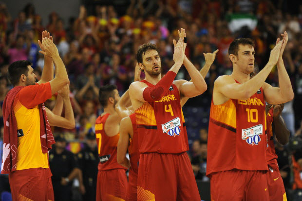 Spain's team celebrate after winning 63-82 the 2014 FIBA World basketball championships group A match Brazil vs Spain at the Palacio Municipal de Deportes in Granada on September 1, 2014. AFP PHOTO / JORGE GUERREROJorge Guerrero/AFP/Getty Images
