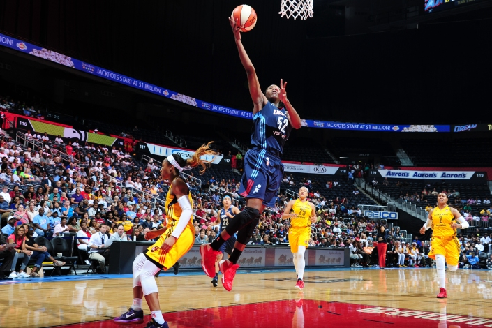 ATLANTA, GA - MAY 29:  Elizabeth Williams #52 of the Atlanta Dream shoots the ball against the Indiana Fever on May 29, 2016 at Philips Arena in Atlanta, Georgia.  NOTE TO USER: User expressly acknowledges and agrees that, by downloading and/or using this Photograph, user is consenting to the terms and conditions of the Getty Images License Agreement. Mandatory Copyright Notice: Copyright 2016 NBAE (Photo by Scott Cunningham/NBAE via Getty Images)